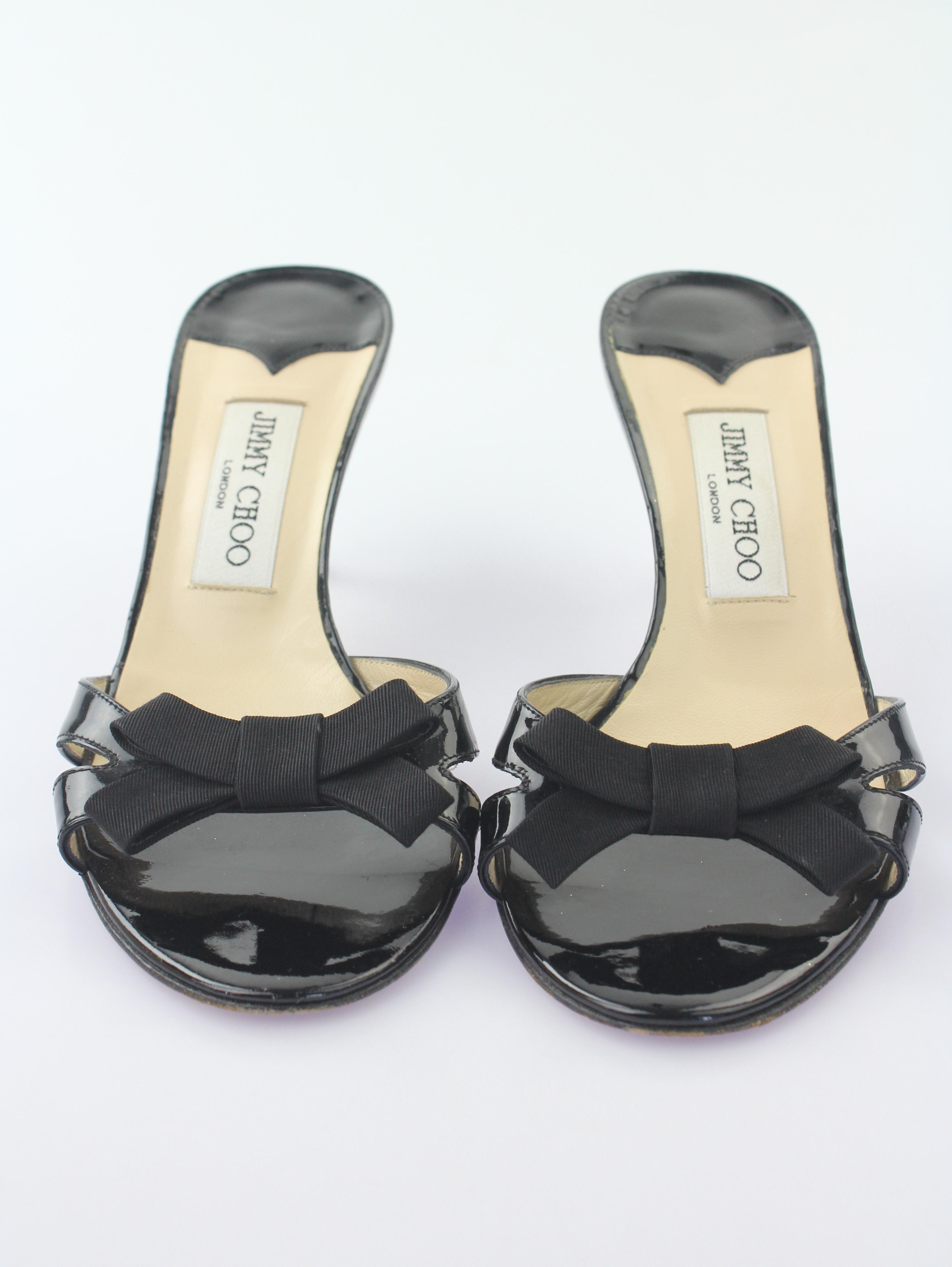b9b3aba35324 US Jimmy Choo Black Patent Leather Bow Bow Bow Sandals Size EU 38 (Approx.  US ...