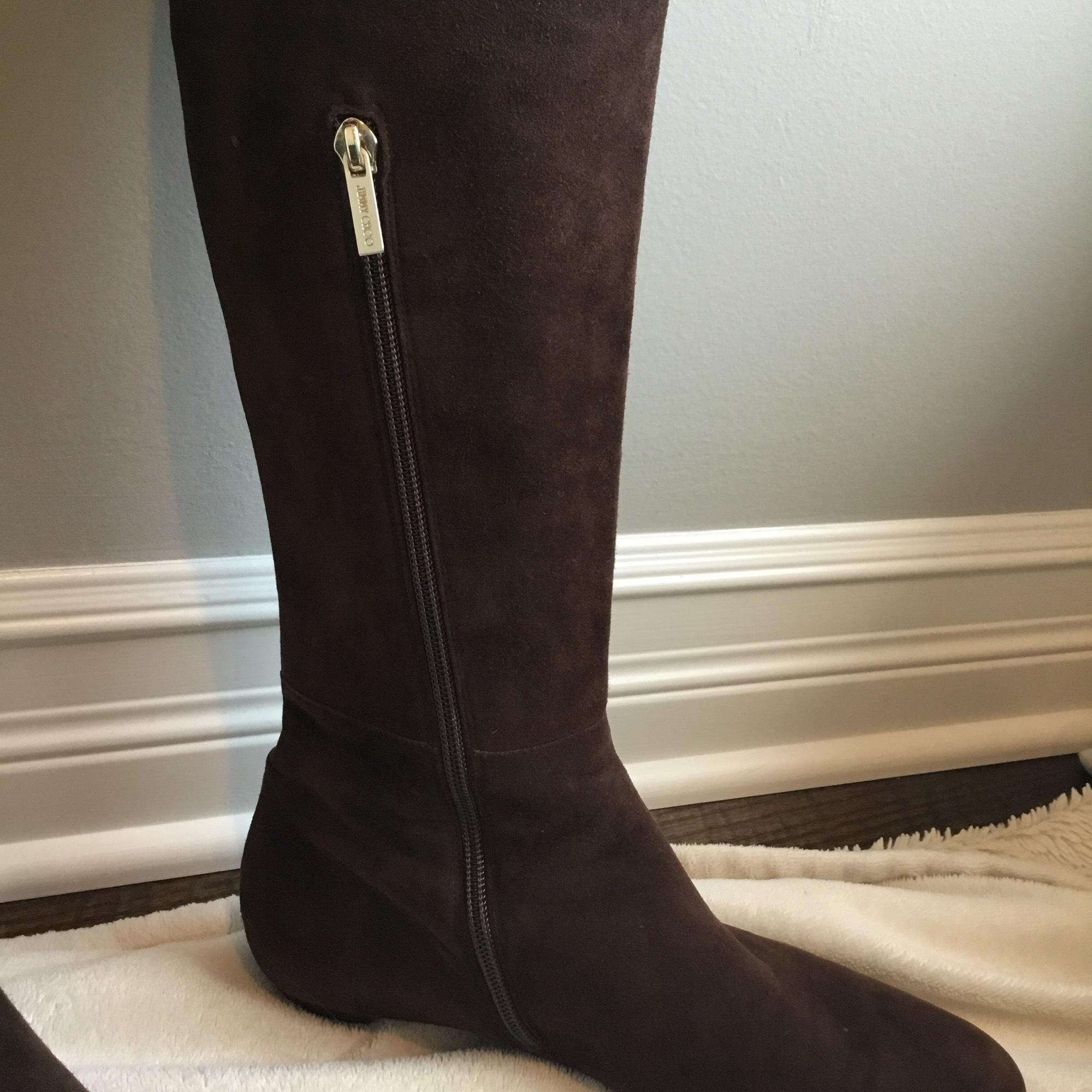 af2c57d9595 ... Jimmy Choo Brown Over Over Over The Knee Suede Boots Booties Size EU 39  ...