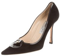 Jimmy Choo Classic Suede Pointed Toe Stiletto Leather Black Pumps