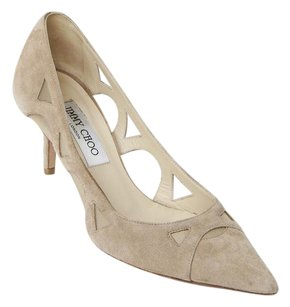 Jimmy Choo Nude Suede Leather Mesh Cut Out Pointed Toe Low Heel 737 Beige Pumps