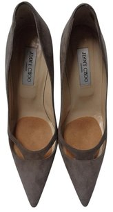 Jimmy Choo London Pointed Toe Heels Leather B3163 Taupe Pumps