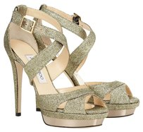 Jimmy Choo Glitter Platform Metallic Formal Open Toe Light Bronze Sandals
