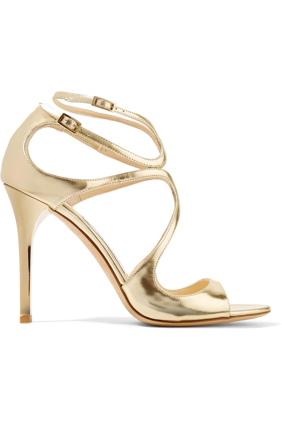Jimmy Choo Gold - Lang 100mm Pumps Sandals Size EU 34.5 (Approx. US 4.5) Regular (M, B)
