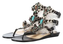 Jimmy Choo Jeweled Leopard Pony Hair Sandals