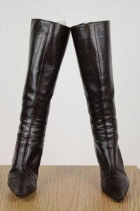 Jimmy Choo Womens Solid Leather Knee High Guc Brown Boots