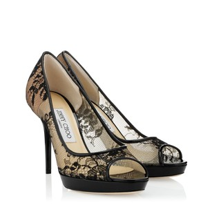 Jimmy Choo Leather Italian Lace Luxury Black Pumps