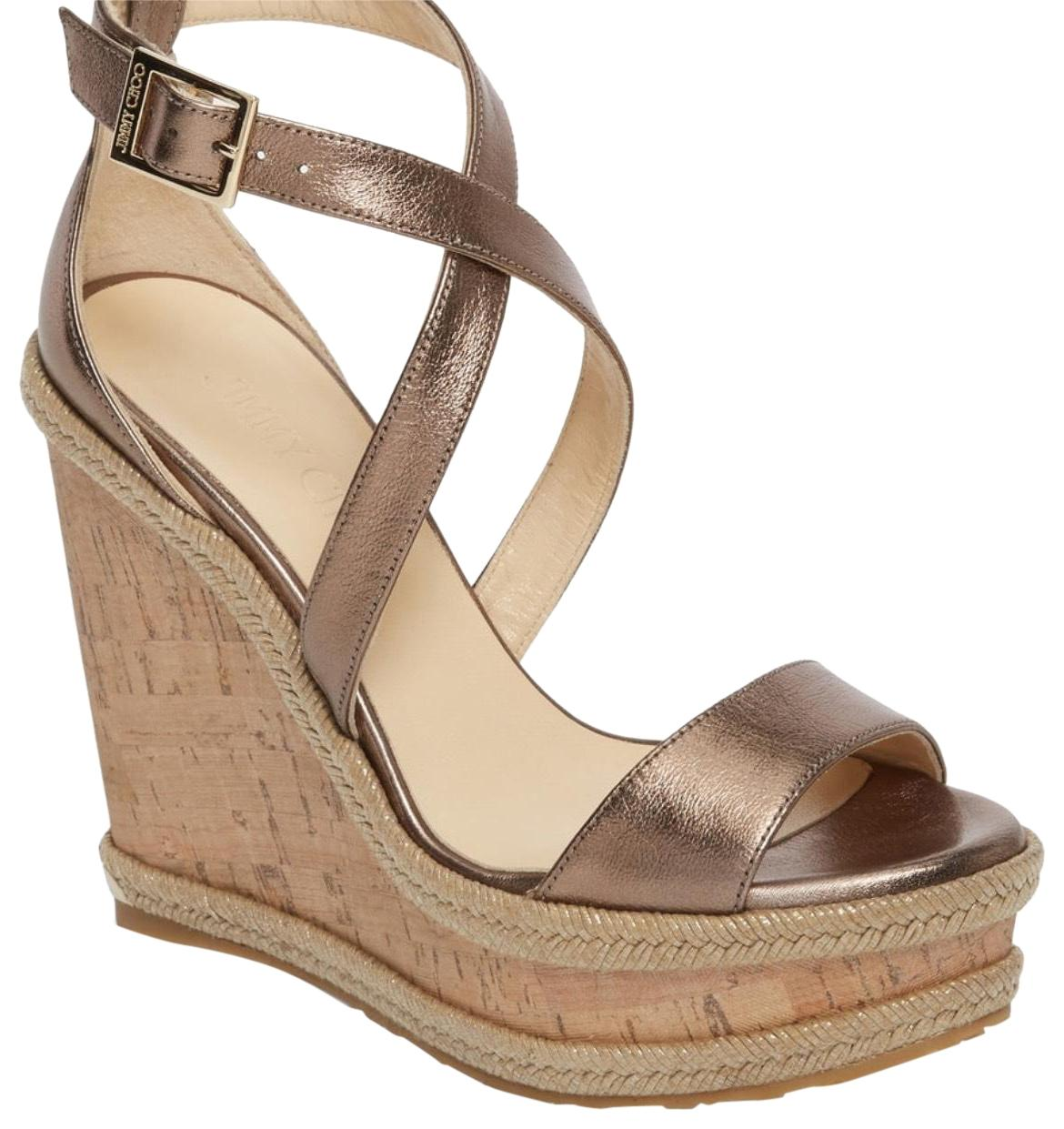 """Jimmy Choo Metallic 4 1/2"""" (114mm) Heel; 1 1/2"""" Platform 38.5) Adjustable Strap with Buckle Closure Leather Upper and Lining/Synthetic Wedges Size US 7.5 Regular (M, B)"""