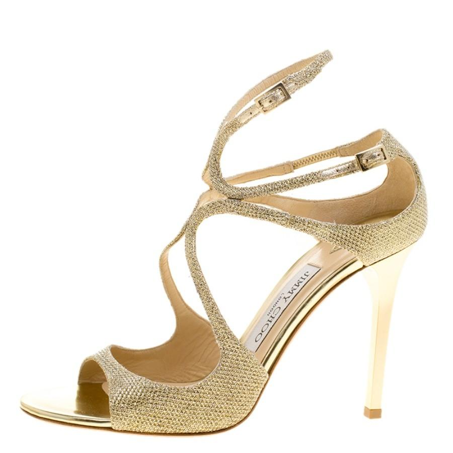 Jimmy Choo Metallic Gold Lamè Ivette Sandals Pumps Size EU 38.5 (Approx. US 8.5) Regular (M, B)