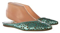 Jimmy Choo Womens Mules Metallic Leather Slip On Blue Flats
