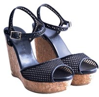 Jimmy Choo Perforated Leather Cork Gold Hardware Black Wedges