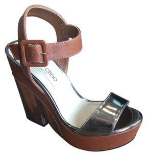 Jimmy Choo Pewter and wooden Wedges