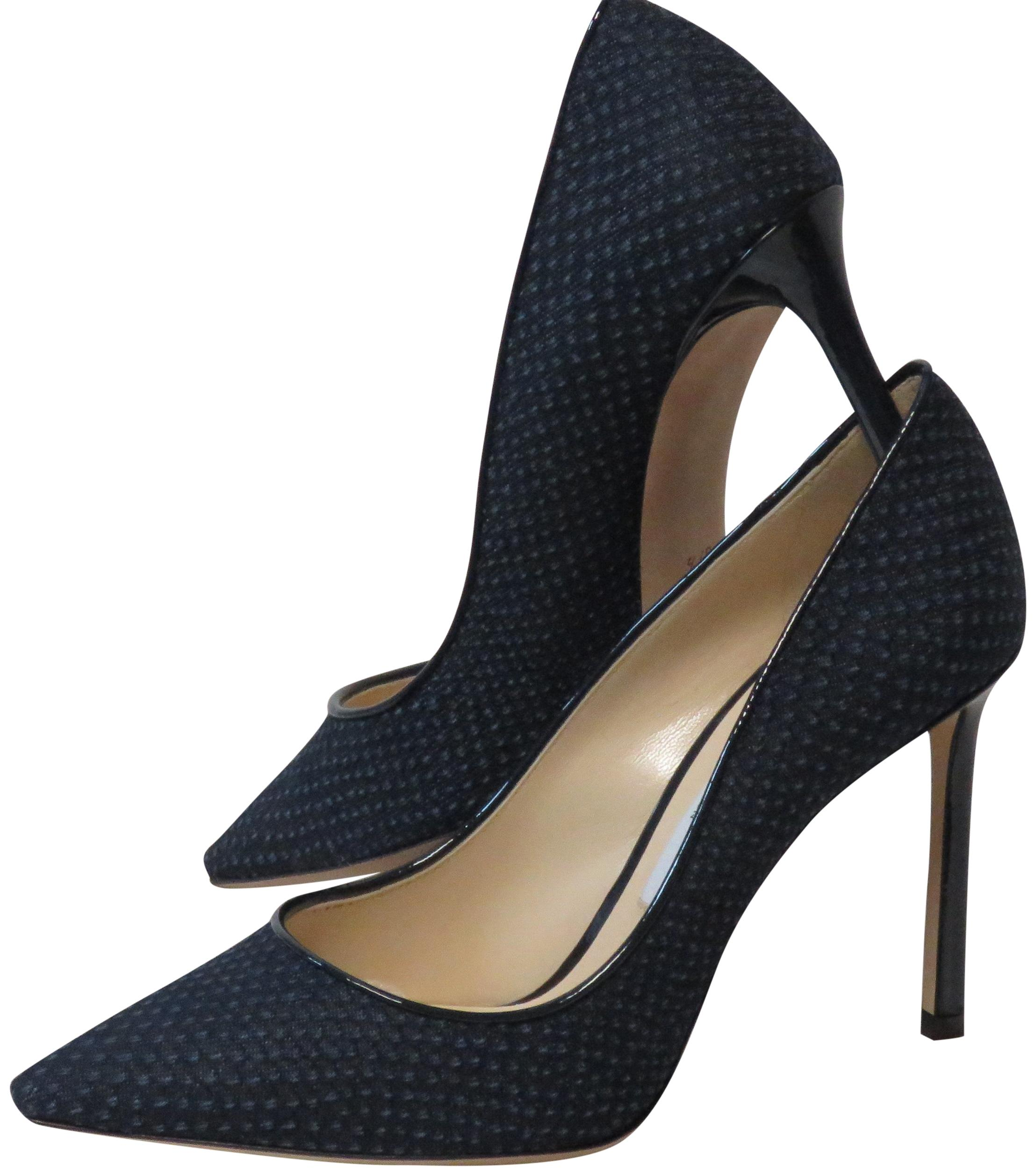 Jimmy Choo Romy 100 Navy Python Printed Denim Pointy Pumps Size EU 37.5 (Approx. US 7.5) Regular (M, B)