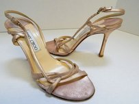 Jimmy Choo Metallic Leather Strappy Heels Italy Pink Sandals
