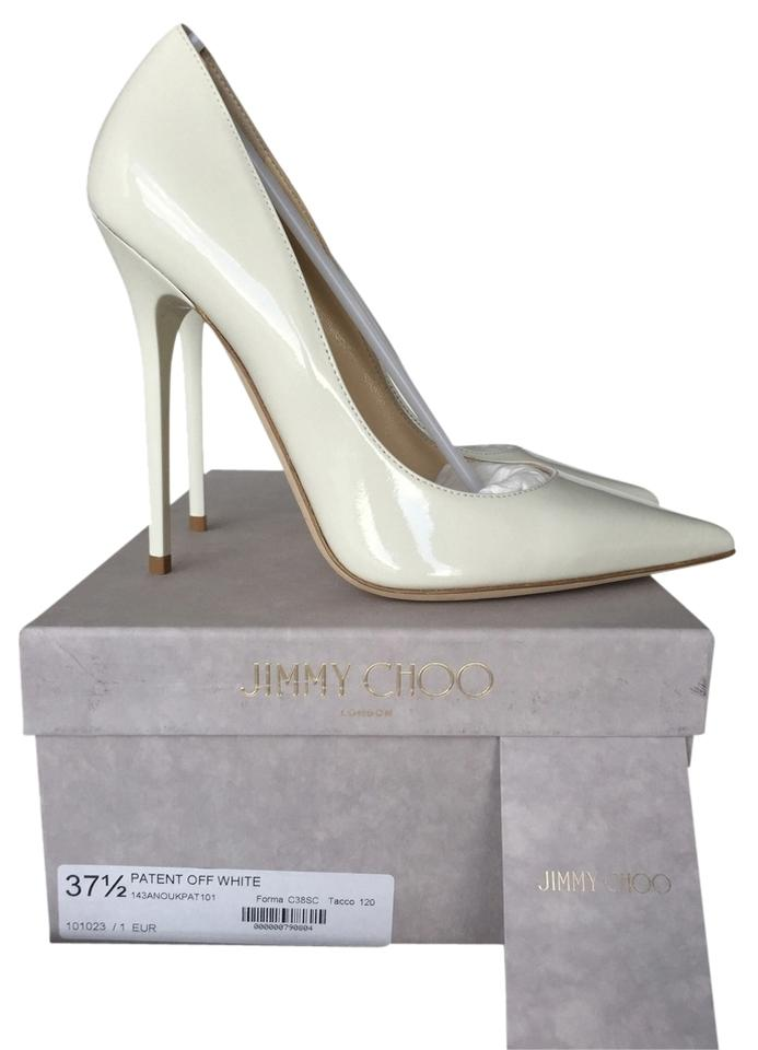 f499f9c74b Jimmy Choo White Anouk 120 Off-white Patent Leather Leather Leather 37.5  Pumps Size US 7.5 Regular (M, B) fddfe6