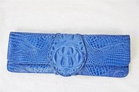 JJ Winters Croc Embossed Blue Clutch