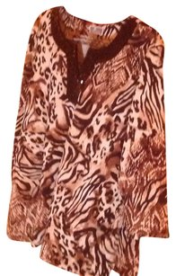 JM Collection Top Brown, black and beige