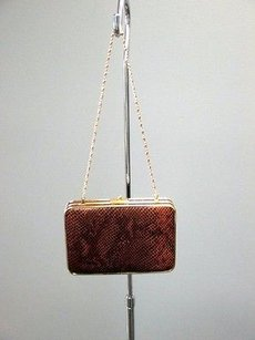 J.McLaughlin J Snake Embossed Leather Gold Chain Kelly B2665 Brown Clutch