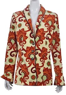 J.McLaughlin J Mclaughlin Womens Yellow Printed Blazer Long Sleeve Career Jacket