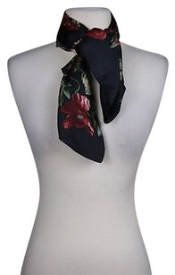 J.McLaughlin J Mclaughlin Womens Black Floral Scarf Os 100 Silk Formal