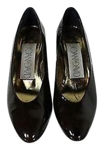 Joan & David Womens Patent Leather Stiletto Heels Narrow Brown Pumps