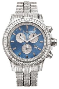 Joe Rodeo Men Diamond Watch Joe Rodeo Master Pilot Fully Loaded Jmp18 26.7ct Blue Mop Dial