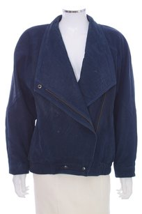 John Carlisle Suede Leather Asymmetrical Blue Leather Jacket