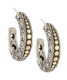 John Hardy JOHN HARDY 925 ST SILVER 18K GOLD JAISALMER DOT HOOP EARRINGS