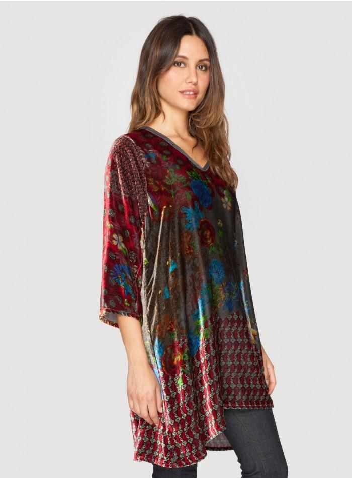 Johnny Was Collection Fiscar Half Sleeve Printed Velvet ...