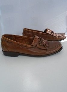 Johnston And Murphy Camel Brown Leather Slip On Loafers W Tassels B3461