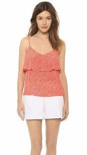 Joie Paradise Red Guava Atiena Print Flounce Silk 210992f Top red/White