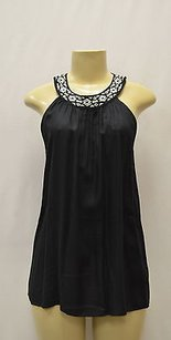 Joie Soft By Illy Embroidered Neck Halter 150609f black/ivory Halter Top