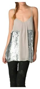 Joie Silk Sequin Silk Top Grey Silver