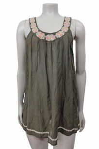 Joie Embroidered Neck Top Olive