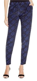 Joie Zelie Printed Silk Jogger Relaxed Pants Black & Blue