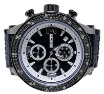 JoJino Mens Jojojojinojoe Rodeo Aqua Master Rubber Band 25 Diamond Watch Mj-1075b