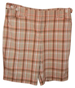 Jones New York Short Stretchy Comfortable Bermuda Shorts Orange Plaid