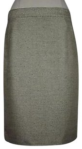 Jones New York Metallic Polyester Blend Skirt Beige
