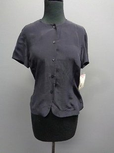 Jones New York Navy Silk Button Down Short Sleeve Sm8837 Top Blue