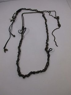 Joomi Lim Joomi Lim Black Leather Brass Chain Wrap Necklace