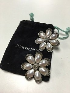 Judith Jack Judith Jack Sterling Silver Pearlescent Rhinestone Daisy Clip On Earrings B3379
