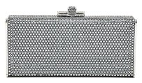 Judith Leiber Tone Rhinestone Covered Rectangular Convertible Silver Clutch