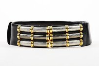 Judith Leiber Judith Leiber Black Leather Gold Tone Silver Tone Statement Buckle Sliding Belt