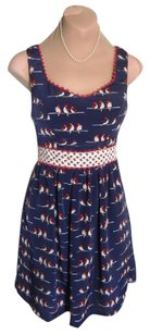 Judith March short dress NAVY BLUE+RED, LITTLE BIRDS ALL OVER IT Size 2 Unique Retro Super Cute Priced To Sell on Tradesy