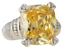 Judith Ripka JUDITH RIPKA FONTAINE HEART 925ST SILVER CANARY CRYSTAL LARGE RING