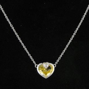 Judith Ripka Judith Ripka Fontaine Necklace Canary Heart White Sapphire 18k Y G 925