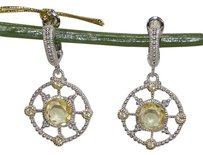 Judith Ripka JUDITH RIPKA TRELLIS SILVER GOLD CANARY CRYSTAL SAPPHIRE DROP EARRINGS
