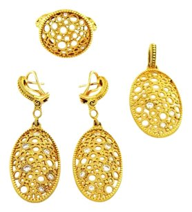 Judith Ripka Oval Gold Snowflake Diamond Pendant, Earring and Ring Set