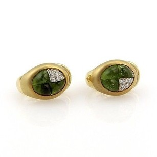 Judith Ripka Pomellato Madera Collection 18k Yellow Gold Peridot And Diamond Huggie Earrings