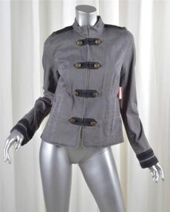 Juicy Couture Womens Cotton Denim Military Cadet Gray Jacket