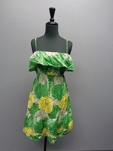 Juicy Couture short dress Green Tan Yellow Spaghetti Strap Shirred Summer Sm7269 on Tradesy